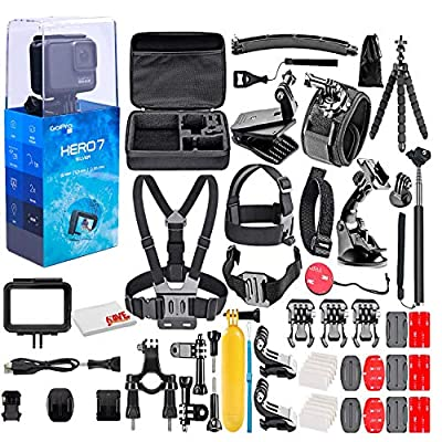 GoPro - HERO7 Silver 4K Waterproof Action Camera - with 50 Piece Accessory Kit - Touch Screen 4K HD Video - 10MP Photos - Live Streaming Stabilization - Silver - Loaded Bundle (Renewed) by GoPro