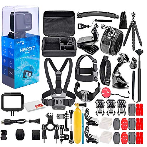 GoPro - HERO7 Silver 4K Waterproof Action Camera - with 50 Piece Accessory Kit - Touch Screen 4K HD Video - 10MP Photos - Live Streaming Stabilization - Silver - Loaded Bundle (Renewed)