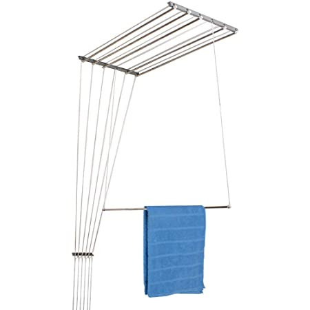 Rainbow Drywell Premium 6 Pipes 7 Feet Stainless Steel Individual Drop Down Railers Ceiling Cloth Dyrer/Clothes Hanger