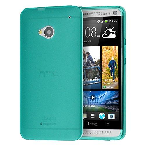doupi PerfectFit Funda Compatible con HTC One (M7), Tapones de Polvo instalados TPU Ligero Estuche Protección, Verde