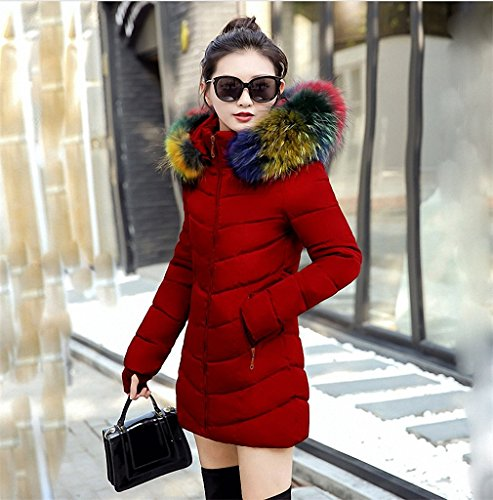 Hiuwa Womens Parka Fake Fur Collar Parka Down Cotton Jacket Thick Parkas Burgundy L