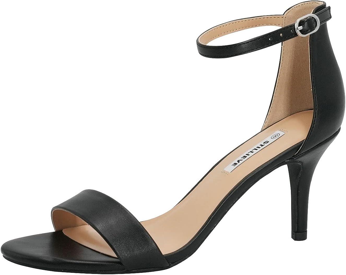 STILLIEVE Women's Ankle Strap Mid Stiletto Heel Sandal
