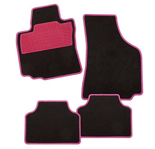 CarFashion 258051 Colori Pink DL4 | Auto Fussmatte in schwarz | Automatten | Trittschutz in Pink | pinkfarbige Hochglanz Kettelung | Auto...