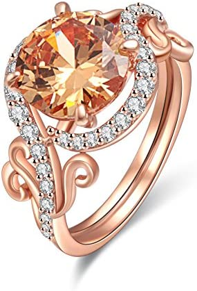 Barzel Rose Gold Plated Champagne Cubic Zirconia Statement Ring 9 product image
