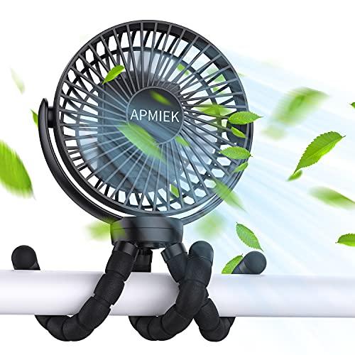 APMIEK Mini Ventilatore Portatile USB, 5000mAh Batteria Ricaricabile 3 Velocità Silenziosa Rotazione di 360° Ventilatore da Tavolo per Passeggino/Tapis Roulant/Tenda/Casa/Viaggio/Auto/Ufficio, Nero