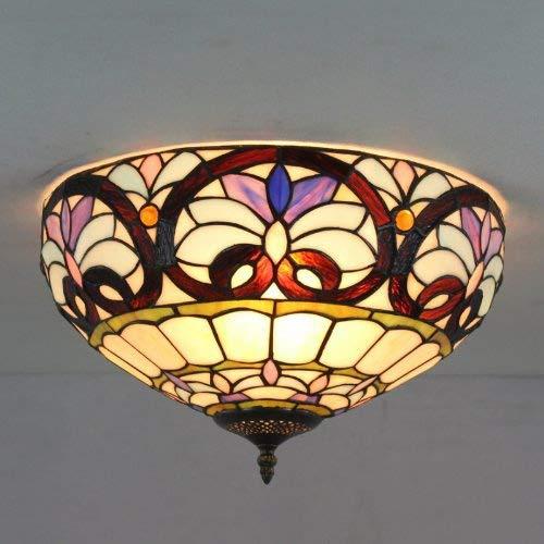 Tiffany Retro Deckenleuchte Vintage Deckenlampe Gute Qualität Bar Wohnzimmer Schlafzimmer Esszimmer Studie Deckenbeleuchtung Kreativ Glas Metall Dekorativer Innenbeleuchtung 3*E27 D40cm*H20cm Max.40W