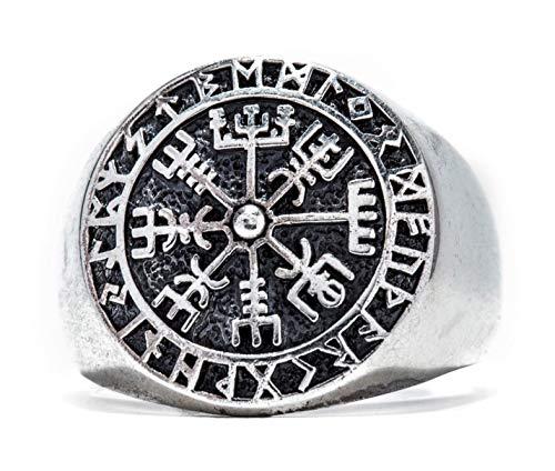 Windalf Runen Wikinger Ring VEGVESIR h: 1.8 cm Lebens Kompass Asatru 925 Sterlingsilber (Silber, 70 (22.3))