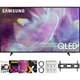 Samsung QN60Q60AA 60 Inch QLED 4K UHD Smart TV (2021) Bundle with Premiere Movies Streaming + 37-100 Inch TV Wall Mount + 6-Outlet Surge Adapter + 2X 6FT 4K HDMI 2.0 Cable