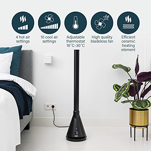 Princess 2-in-1 Smart Tower Fan Heater & Cooler, Bladeless, Smart Control & Free App, Compatible with Alexa, 4 Heat Settings, Oscillating