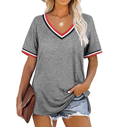 NAQUSHA Camiseta de mujer con cuello en V de moda casual blusa suelta lateral dividido color sólido manga corta Tops