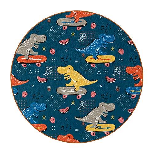6 posavasos antideslizantes resistentes al calor decorativos para el hogar, posavasos redondos para tazas, tazas, vasos, dinosaurios divertidos con música de monopatín
