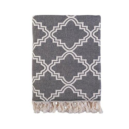 Arabesque tegel design luxe katoen gooien - donkergrijs/crème - 140 x 170cm