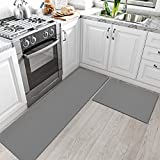 DEXI Kitchen Rugs and Mats Cushioned Anti Fatigue Comfort Runner Mat for Floor Rug Waterproof Standing Rugs Set of 2,18'x29'+18'x59', Grey
