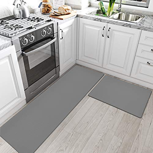 DEXI Kitchen Rugs and Mats Cushioned Anti Fatigue Comfort Runner Mat for Floor Rug Waterproof Standing Rugs Set of 2,17