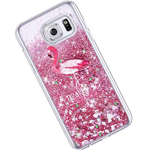 Qjuegad Compatible avec Samsung S6 Edge Plus Coque Ultra Slim Pailleté Glitter Quicksand Silicone Étui Transparente avec Motif Etui Antichoc Housse de Protection Back Cover Bumper Shell, Flamingo#1
