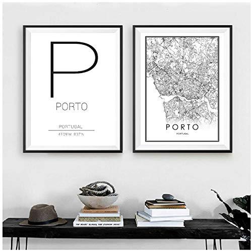 Zwarte witte Porto City Road Map Print Portugal Wall Art Canvas Schilderij Porto Coördinaat Moderne Scandinavische Home Decor Foto's -50x70cmx2 stuks (geen frame)