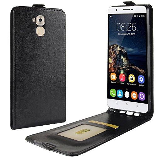 HualuBro Oukitel U16 Max Hülle, Premium PU Leder Leather HandyHülle Tasche Schutzhülle Flip Hülle Cover für Oukitel U16 Max Smartphone (Schwarz)