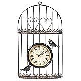 Iron Art Birdcage Wanduhr, Antike Retro Amerikanische Idyllische Landhaus & Outdoor Garten Zubehör Handwerk Hängen Uhr, A, 57,6 * 34 * 8 cm