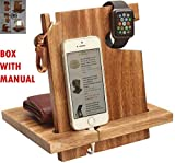 Deal for You - Wooden Docking Station for Men - Nightstand Organizer Charging Station - Cell Phone Stand - Watch Organizer, Holds Keys, Wallet Gift for Dad, Husband, Father by ABHANDICRAFTS