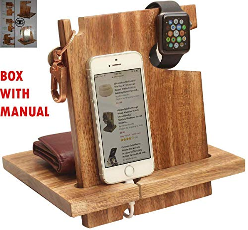 ABHANDICRAFTS - Wooden Docking Station for Men - Nightstand Organizer with Coaster - Watch Organizer, Holds Keys, Wallet for All Occasions by ABHANDICRAFTS