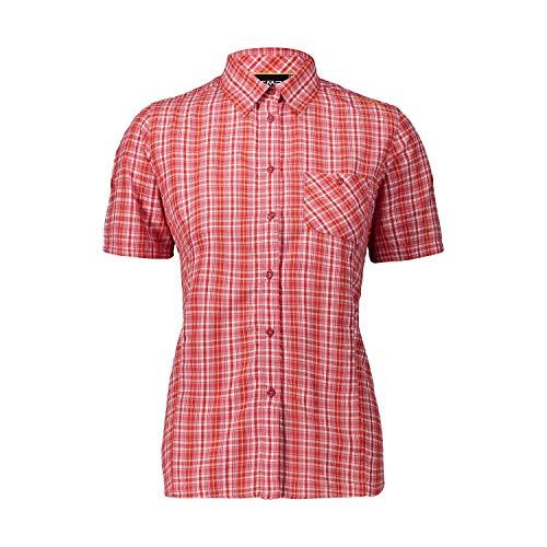 CMP Damen Camicia Maniche Corte Con Taschino T shirt, Scarlet-solarium, 38 EU