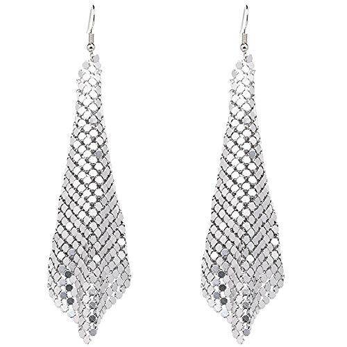Rectangle Clip on Dangle Lightweight Mesh Tassel Sequin Long Drop Earrings (Silver)