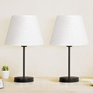 Bedside Table Lamp Set of 2, Modern Table Lamps Classic Nightstand Table Lamps for Bedrooms, Living Room, Coffee Table
