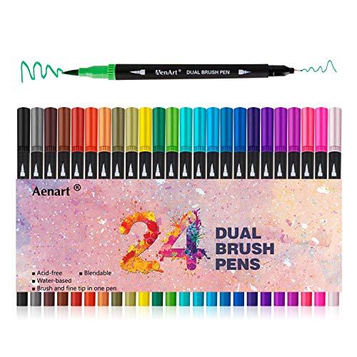 Reasonat Dual Tip Brush Marker-Stifte, Dual Brush Fine Point Pen für Erwachsene Kids Bullet Journal Coloring Hinweis Nehmen, 24 verschiedene Farben