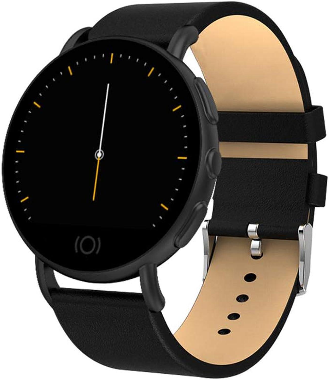 YF&FS Intelligente Uhr Smart Watch Business Fashion Metall Leder Blautdruck Blautsauerstoffmonitor Uhr für Mnner und Frauen
