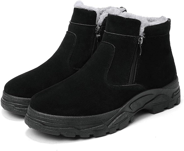 Spricen Snow Boots Winter Men's Cotton shoes Plus Warm Cotton Boots Thick Martin Boots Black