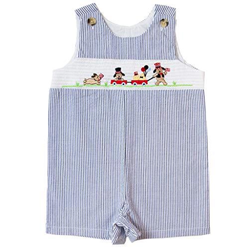 Good Lad Newborn/Infant Boys Smocked July 4th Embroidered Seersucker Shortall (24M) Navy