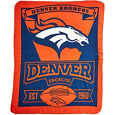 The Northwest Company 1NFL/03102/0004/AMZ NFL Denver Broncos Marque Printed Fleece Throw, 50  x 60 , Denver Broncos, 50 x 60
