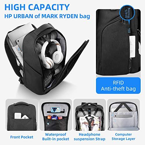 Mark Ryden Business Laptop Rucksack, 15,6-Zoll Freizeitrucksack mit großer Kapazität wasserdichte Schultasche, Diebstahlsicherungstasche mit USB-Ladeanschluss für Herren und Damen, Schwarz