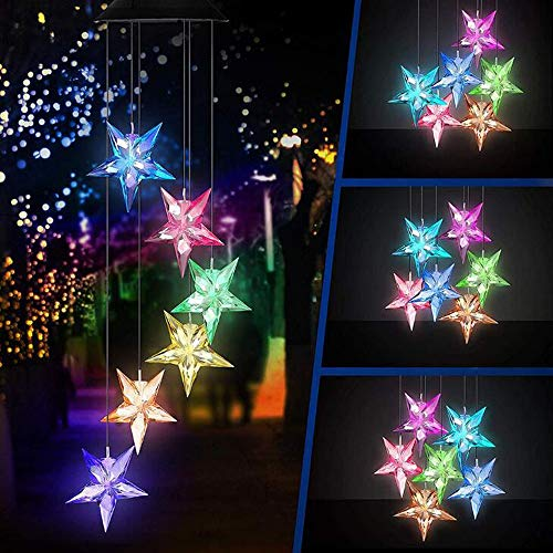EpicGadget Large Star Solar Light, Solar Star Wind Chime Color Changing Waterproof Outdoor Solar Garden Decorative Lights for Walkway Pathway Backyard Christmas Decoration Parties (Large Star)