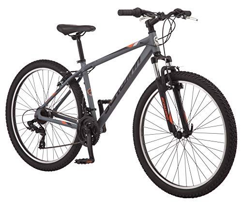 Schwinn High Timber AL Youth/Adult Mountain Bike, Aluminum Frame, 27.5-Inch Wheels, 21-Speed, Grey