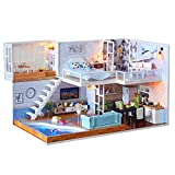 SDFJKO3D Holz DIY Miniatur Hausmöbel LED Haus Puzzle Dekorieren Kreative Geschenke Puppenhaus, A.