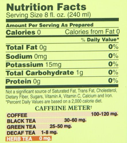 Bigelow Perfect Peach Quart size Iced Herbal Tea Bags, 8 Count Box (Pack of 6), 48 Caffeine Free Tea Bags Total.