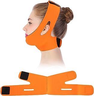 Gezichtsmasker, V-Face Line riem, ademende kin tillen anti-rimpel slaapmasker strap (oranje)