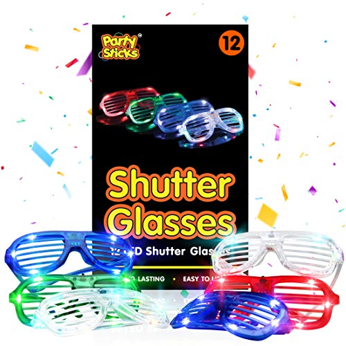 PartySticks LED Light Up Glasses Party Favors for Kids and Adults - 12pk Bulk Glow in The Dark Neon...