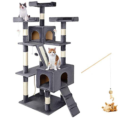 """LIVINGbasics™ 68"""" Large Cat Tree Condo with Sisal Scratching Posts, Deluxe Multiple Platform Kitten Play House with Free Cat Toy - Grey"""