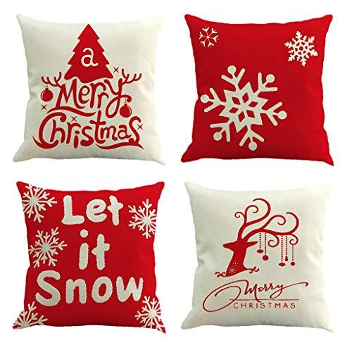 N/A. 4 fundas de almohada navideñas de lino para sofá, funda de cojín decorativa de copo de nieve para decoración del hogar, sala de estar, protector de muebles