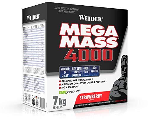 Weider Mega Mass 4000 Weight Gainer Shake zum Zunehmen, Erdbeere, mit Protein, Creapure Kreatin Monohydrat, komplexen Kohlenhydraten, Vitaminen und Mineralstoffen – der perfekte Muskelaufbau Shake 7kg