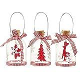 Paquete de 3 decoraciones para árbol de Navidad – Decoraciones de cristal colgantes con asas de acero, adornos de Navidad ornamentados, adornos festivos, 3 diseños surtidos, rojo – 2,38 x 3,94 x...