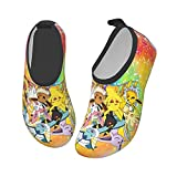 COCOCHILLA Pokemon Pikachu Water Shoes for Kids Girls Boys,Toddler Kids Outdoor Quick Dry Non-Slip Water Skin Barefoot Sports Beach Swim surf Aquatic Shoes Socks for Childrens 34/35