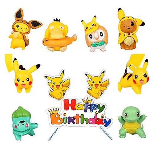 HONGECB Mini Pokemon Figuras Juguetes, Pikachu Cake Topper Figuras, Acción Juguetes Modelo...