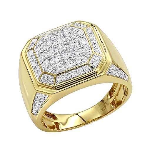 Mens 10k Gold Diamond Wedding Band Pinky Ring 2ctw (Yellow Gold, Size 10.5)