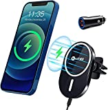 WAITIEE Magnetic Wireless Car Charger Compatible with iPhone 12/12 Mini/12 Pro/12 Pro Max with QC3.0 Adapter, Fast Wireless Car Mount with Secure Air Vent Clamp, Black