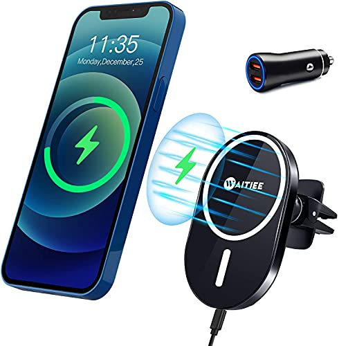 WAITIEE Magnetic Wireless Car Charger Compatible with iPhone 12/12 Pro/ 12 Pro Max/ 12 Mini with QC3.0 Adapter Fast Wireless Car Charger Mount with Secure Air Vent Clamp