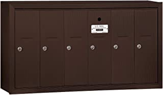 Salsbury Industries 3506ZSU Surface Mounted Vertical Mailbox with USPS Access and 6 Doors, Bronze