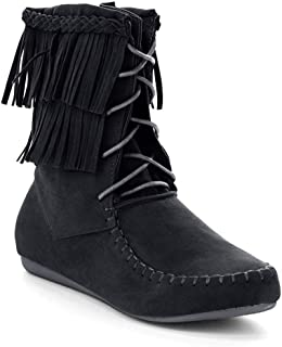 Candice-22 Women's Sassy Two Layer Fringe Moccasin Ankle Booties